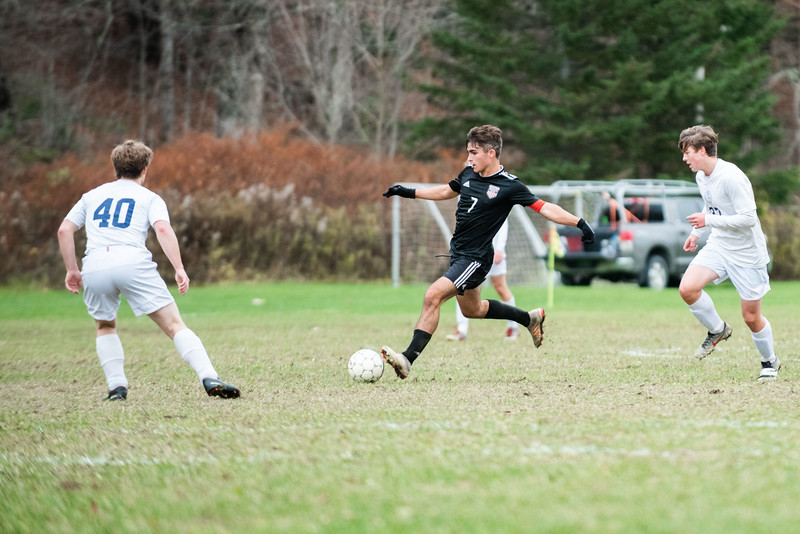 KELLY FLETCHER, REFORMER CORRESPONDENT -- Casey Sibilia takes a shot for Twin Valley during their playoff game vs. Rivendell on Tuesday.  Twin Valley took the win 2-1.