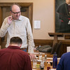 Seminarians in the January Interterm Catholic Art class taught by Fr. Harry Hagan, OSB, painted in the Newman dining room on Wednesday, January 17.