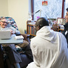 Seminarians visited with monks in the infirmary during the January Interterm wellness class on January 10.