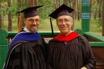 """Clay in his """"PhD blue"""" graduation gown in September, 2007, with Master of Divinity graduate Mikhail Dorogoi -- a ruling elder from the Presbyterian Church of the Holy Trinity in Kyiv."""