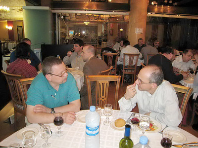 The most valuable thing in our conference in Spain was the interaction. Here, Pastor Giorgi from Odessa speaks with Pastor Alvis from Riga, Latvia. Ours was the only table speaking Russian that night-- the next table spoke Greek!