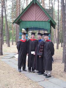 ERSU Graduation, Sept 2008 - L to R: Dir. Student Affairs Scott Andes, Graduate Andre Dilyuk, Pres. Clay, Acad. Dean Jos Colijn