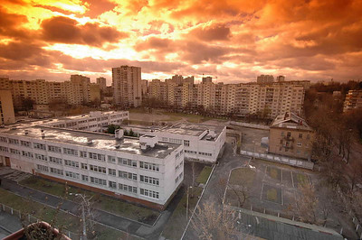 Sunset from ERSU library on the 9th floor in downtown Kyiv.