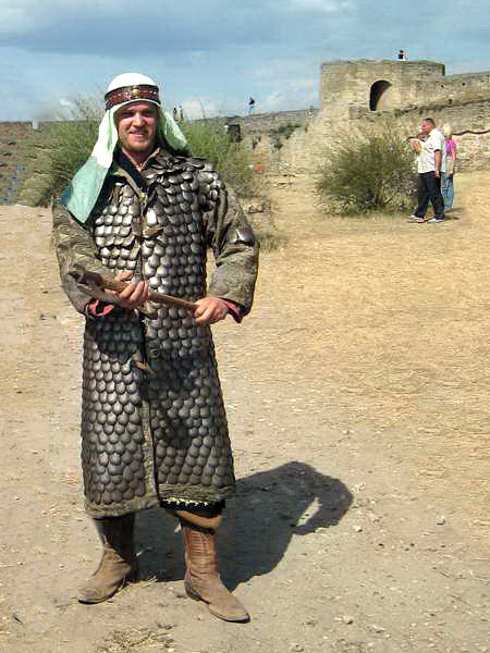 ERSU Administrator Dinis Lukoshkin in battle gear at 2000-year-old Belgorod-Dnestrovsky fortress. He enjoys this hobby of reenacting Ukraine's rich and varied past.