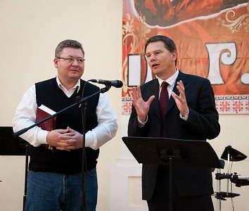 ERSU Seminary Graduation 2010 - Dutch guest speaker, Pastor Jan Matthijs van Leeuwen, with interpreter Sergei Nakul