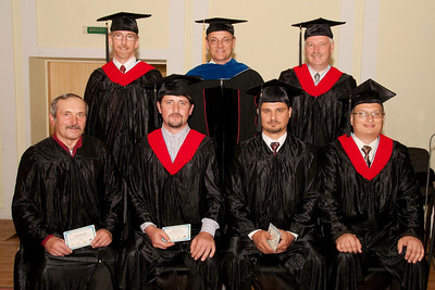 ERSU Seminary Graduation 2010 - (L to R)  Graduates Vassili Murza, Eduard Shevchuk, Denis Dudkin, and Kolya Koretsky with resident Staff Andes, Quarterman, and Colijn