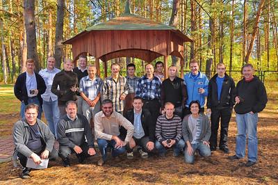 Dean Anderson's NT class next to gazebo, ERSU seminary at Zmina camp, Kyiv -