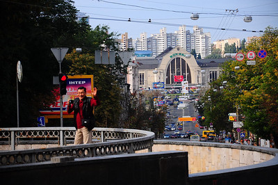 Kyiv train station from Shorza monument - ERSU student Jumagali from Kazahstan