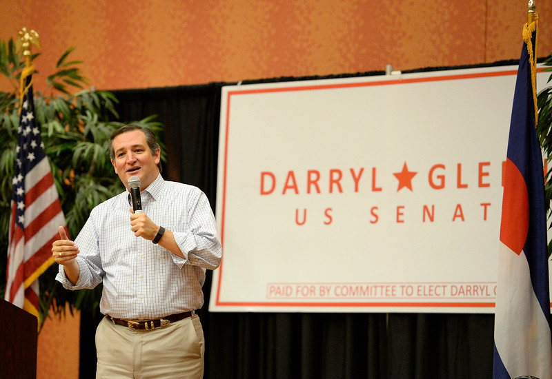 Sen. Ted Cruz speaks Wednesday, Oct, 26, 2016, stumping for Darryl Glenn at Embassy Suites in Loveland. (Photo by Jenny Sparks/Loveland Reporter-Herald)