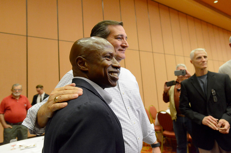 Sen. Ted Cruz and Darryl Glenn chat Wednesday, Oct, 26, 2016, after Cruz spoke to stump for Glenn at Embassy Suites in Loveland. (Photo by Jenny Sparks/Loveland Reporter-Herald)