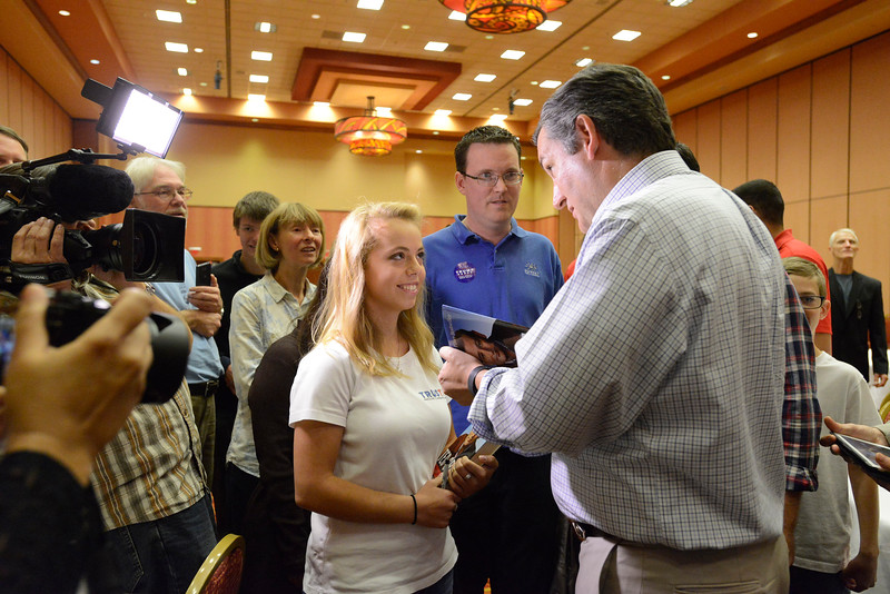 Elizabeth Yenni of Mead, 17, talks with Sen. Ted Cruz Wednesday, Oct, 26, 2016, after Cruz spoke to stump for Darryl Glenn at Embassy Suites in Loveland. (Photo by Jenny Sparks/Loveland Reporter-Herald)