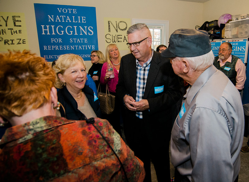 Guests gather at the home of Natalie Higgins, Democratic candidate for Leominster State Representative, on Saturday afternoon as U.S. Sen. Elizabeth Warren visits to endorse Higgins for the seat. SENTINEL & ENTERPRISE / Ashley Green