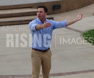 Jeff Jackson attends a town hall at Winston Square Park at 310 Marshall St N in Winston-Salem, NC