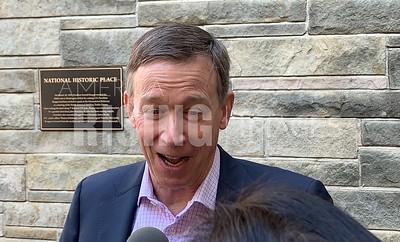 John Hickenlooper Speaks To Press At The NABTU Conference At The Washington Hilton In Washington, DC