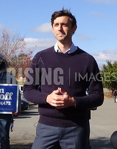 Jon Ossoff attends yard sign drive thru pick up in Alpharetta, GA
