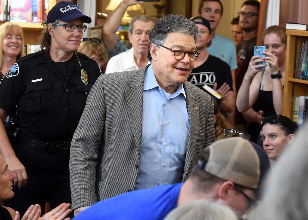 . Al Franken Makes his way through the crowd at the Boulder Bookstore. Al Franken, Democratic Senator from Minnesota, spoke and signed books at the Boulder Bookstore on Saturday. For more photos and a video, go to www.dailycamera.com.  Cliff Grassmick  Staff Photographer June 17, 2017
