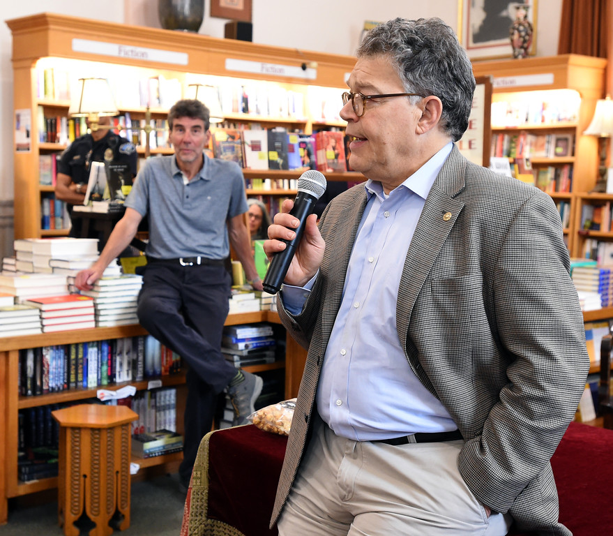 . Al Franken took a few minutes to talk about his book. Al Franken, Democratic Senator from Minnesota, spoke and signed books at the Boulder Bookstore on Saturday. For more photos and a video, go to www.dailycamera.com.  Cliff Grassmick  Staff Photographer June 17, 2017