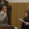 Newly elected Dean Tran gets sworn in by Gov. Charlie Baker on Wednesday morning at the State House. With them is Lt. Gov. Karyn Polito. SENTINEL & ENTERPRISE/JOHN LOVE