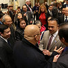 Newly sworn in  Dean Tran chats with Vinnie Than the president of the Vietnamese community of MA as he he is surrounded by family and friends at his party at the state house on Wednesday afternoon after having been sworn in by Gov. Charlie Baker. SENTINEL & ENTERPRISE/JOHN LOVE