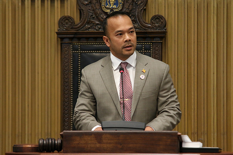 Newly sworn in  Dean Tran addresses the senate, family and friends at the State House on Wednesday afternoon after having been sworn in by Gov. Charlie Baker. SENTINEL & ENTERPRISE/JOHN LOVE