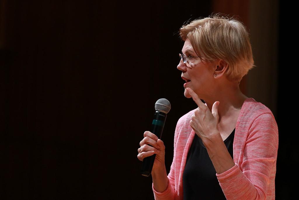 . Senator Elizabeth Warren held a town hall in Fitchburg on Thursday night in Weston Auditorium at Fitchburg State University. SENTINEL& ENTERPRISE/JOHN LOVE
