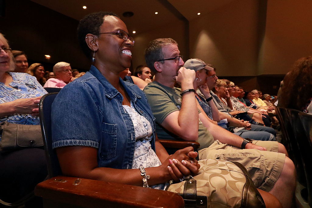 . Senator Elizabeth Warren held a town hall in Fitchburg on Thursday night in Weston Auditorium at Fitchburg State University. Sharon Logiudice of Fitchburg has a good laugh as she listens to Warren at the town hall. SENTINEL& ENTERPRISE/JOHN LOVE