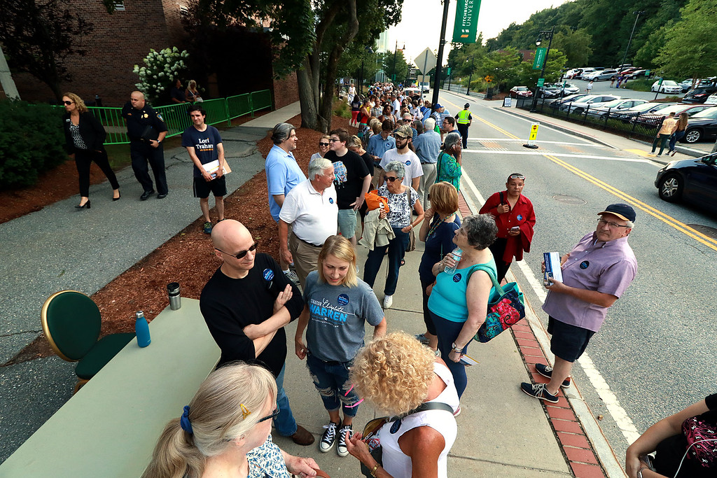 . Senator Elizabeth Warren held a town hall in Fitchburg on Thursday night in Weston Auditorium at Fitchburg State University. Many wait in line for the town hall to start. SENTINEL& ENTERPRISE/JOHN LOVE