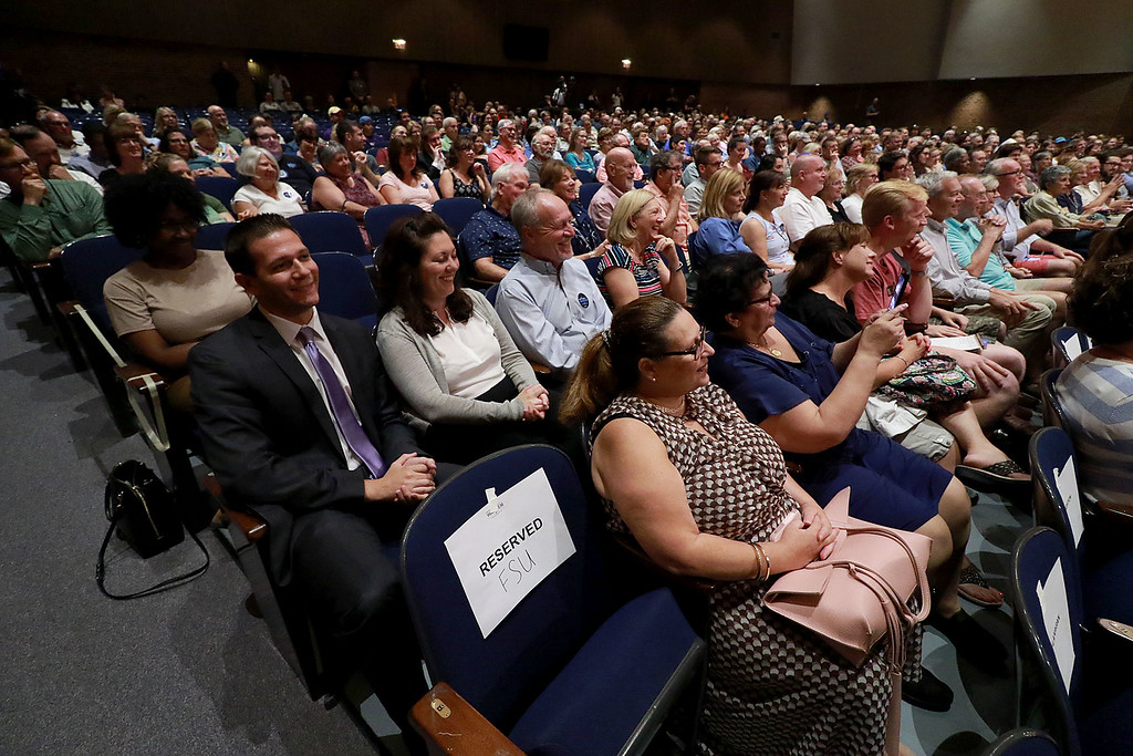. Senator Elizabeth Warren held a town hall in Fitchburg on Thursday night in Weston Auditorium at Fitchburg State University. The auditorium was fill with supporters at the the town hall. SENTINEL& ENTERPRISE/JOHN LOVE
