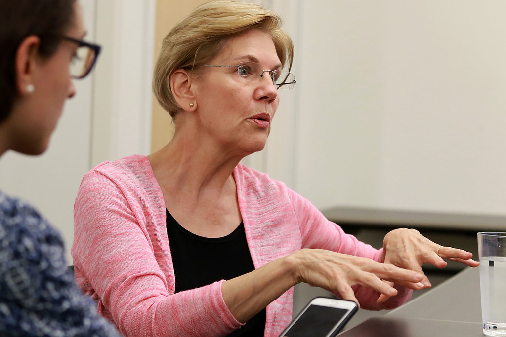 . Senator Elizabeth Warren held a town hall in Fitchburg on Thursday night in Weston Auditorium at Fitchburg State University. Just before the town hall warren answered some question for the Sentinel & Enterprise. SENTINEL& ENTERPRISE/JOHN LOVE