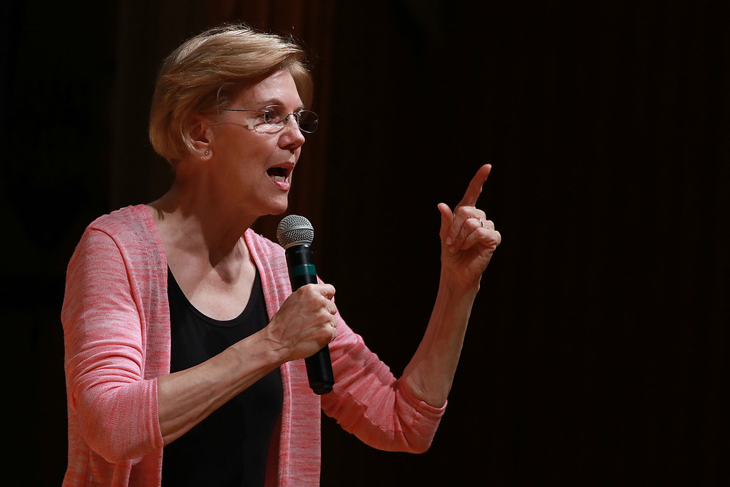 . Senator Elizabeth Warren held a town hall in Fitchburg on Thursday night in Weston Auditorium at Fitchburg State University. SENTINEL& ENTERPRISE/JOHN LOVE
