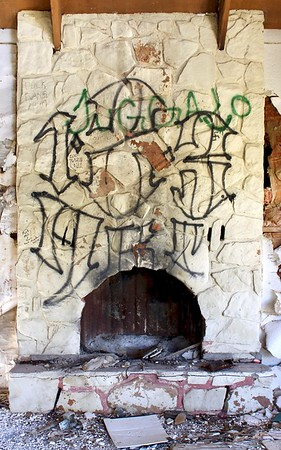 Fireplace inside abandoned cabin (2018)