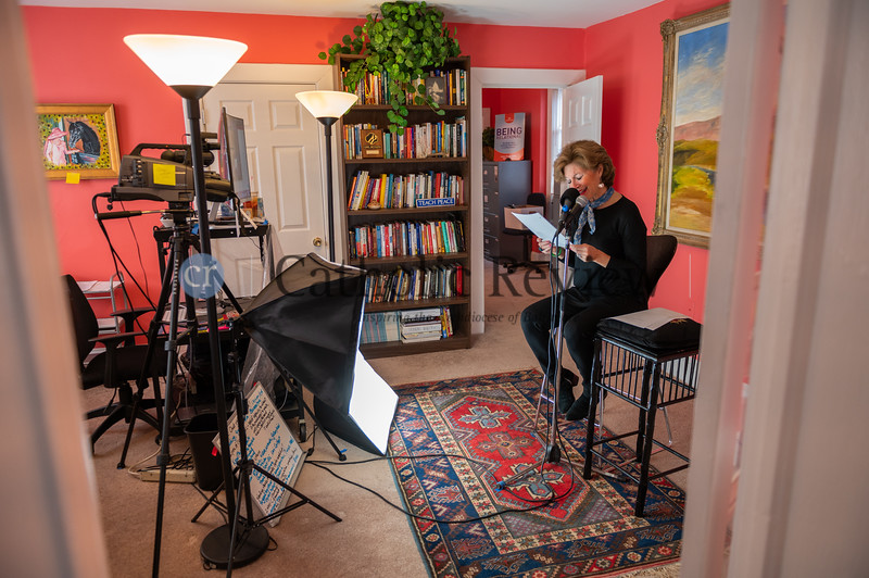 """Louise Phipps Senft records her podcast """"Blink of an Eye,"""" which chronicles the family experience from tragedy to epiphany follow her son Archer's swimming accident leaving him a quadriplegic during a New Jersey vacation. (Kevin J. Parks/CR Staff)"""