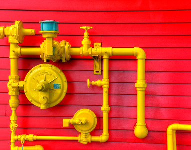 Yellow Pipes on Red
