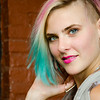model headshot with rainbow hair