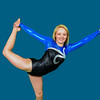 Senior portrait of girl in blue and black leotard