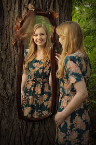 Antique Mirror in our woods for a memorable Senior Portrait. We are a favorite for Seniors from Waukesha, Sussex, Pewaukee, Hartland and beyond.