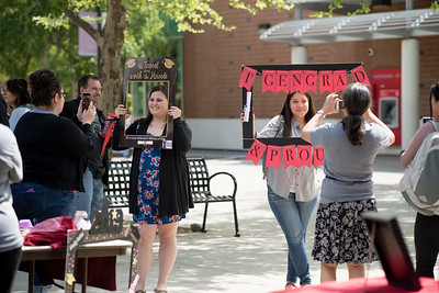 Haley Octet (left) takes a photo during Senior Send-off on Tuesday, April 30, 2019, in Chico, Calif. Students enjoy a free lunch, fun games, and a chance to win exciting prizes including a cruiser bike during the Senior Send-off, sponsored by Chico State Alumni Association. (Jessica Bartlett, University Photographer)