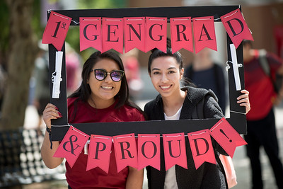 Daisy Saldivar (left) and Jazmin Ruvalcaba (right) take a photo together during Senior Send-off on Tuesday, April 30, 2019, in Chico, Calif. Students enjoy a free lunch, fun games, and a chance to win exciting prizes including a cruiser bike during the Senior Send-off, sponsored by Chico State Alumni Association. (Jessica Bartlett, University Photographer)