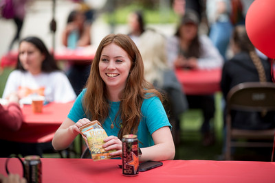 Jennifer Barrett enjoys Senior Send-off on Tuesday, April 30, 2019, in Chico, Calif. Students enjoy a free lunch, fun games, and a chance to win exciting prizes including a cruiser bike during the Senior Send-off, sponsored by Chico State Alumni Association. (Jessica Bartlett, University Photographer)
