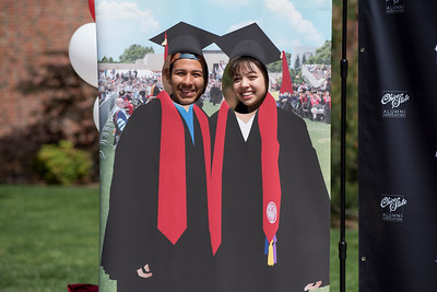 Miguel Maldonado (left) and Analise Lemler (right) enjoy Senior Send-off on Tuesday, April 30, 2019, in Chico, Calif. Students enjoy a free lunch, fun games, and a chance to win exciting prizes including a cruiser bike during the Senior Send-off, sponsored by Chico State Alumni Association. (Jessica Bartlett, University Photographer)