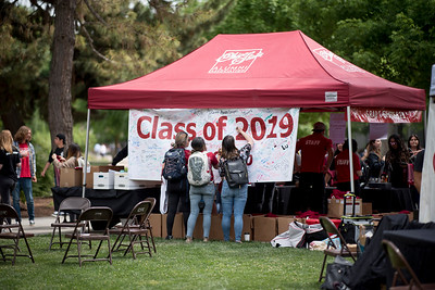 Students enjoy a free lunch, fun games, and a chance to win exciting prizes including a cruiser bike during the Senior Send-off, sponsored by Chico State Alumni Association on Tuesday, April 30, 2019, in Chico, Calif. (Jessica Bartlett, University Photographer)