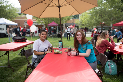 Destinee Moreno (left) and Jennifer Barrett (right) enjoy Senior Send-off on Tuesday, April 30, 2019, in Chico, Calif. Students enjoy a free lunch, fun games, and a chance to win exciting prizes including a cruiser bike during the Senior Send-off, sponsored by Chico State Alumni Association. (Jessica Bartlett, University Photographer)