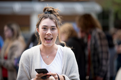 Sonia Paulo and fellow students enjoy a free lunch, fun games, and a chance to win exciting prizes including a cruiser bike during the Senior Send-off, sponsored by Chico State Alumni Association on Tuesday, April 30, 2019, in Chico, Calif. (Jessica Bartlett, University Photographer)