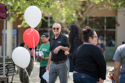 Ken Naas works during Senior Send-off on Tuesday, April 30, 2019, in Chico, Calif. Students enjoy a free lunch, fun games, and a chance to win exciting prizes including a cruiser bike during the Senior Send-off, sponsored by Chico State Alumni Association. (Jessica Bartlett, University Photographer)
