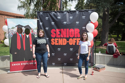 Jackie Noble (left) and Juliet Gibbons (right) enjoy Senior Send-off on Tuesday, April 30, 2019, in Chico, Calif. Students enjoy a free lunch, fun games, and a chance to win exciting prizes including a cruiser bike during the Senior Send-off, sponsored by Chico State Alumni Association. (Jessica Bartlett, University Photographer)