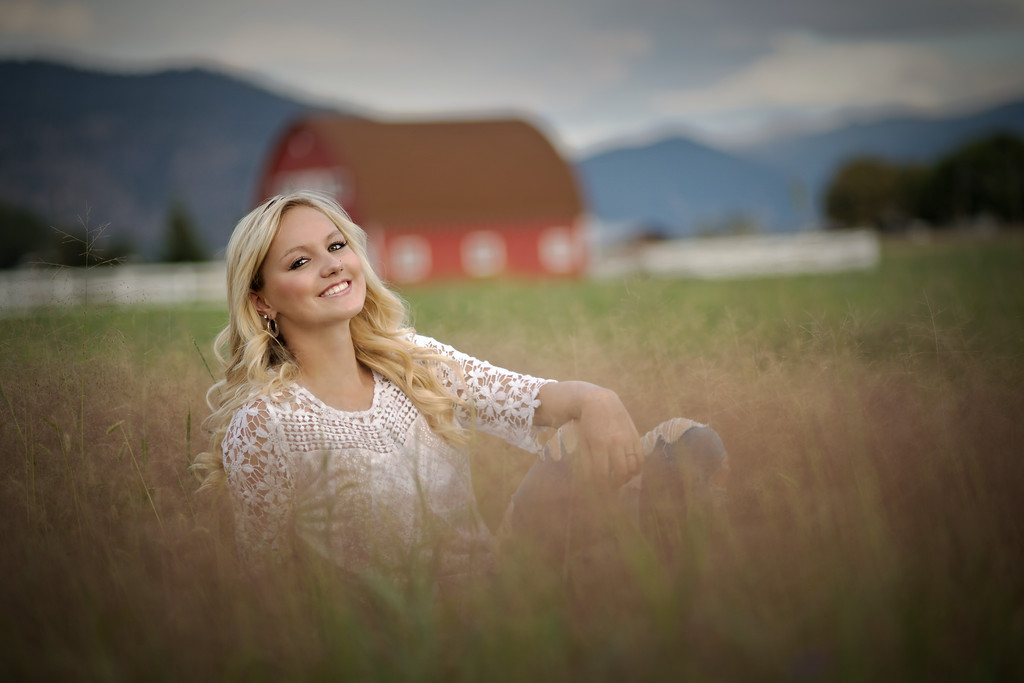 Our country girl look with the red barn