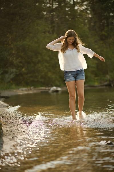 splashing in the lake
