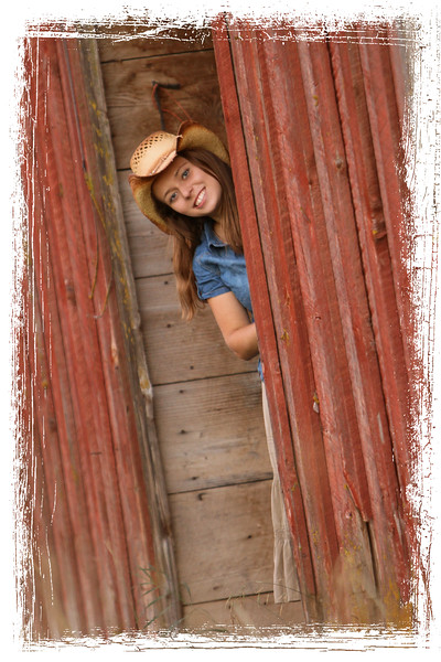 Peeking arround the old red barn door