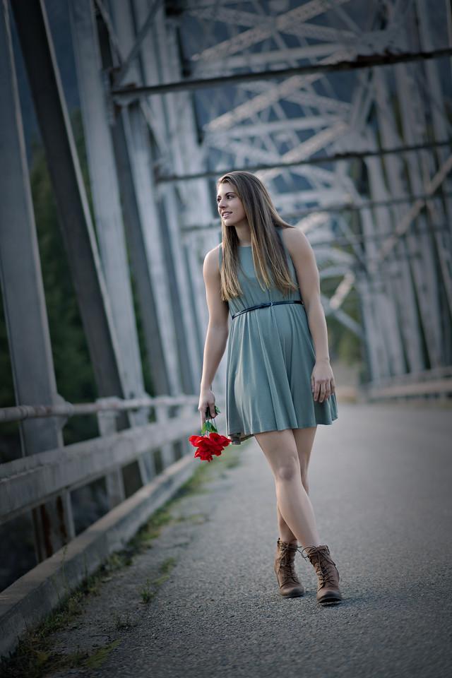 Walking shot at the metal bridge