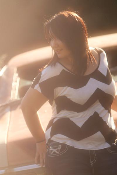 Profile shot, strong back light, sun flare